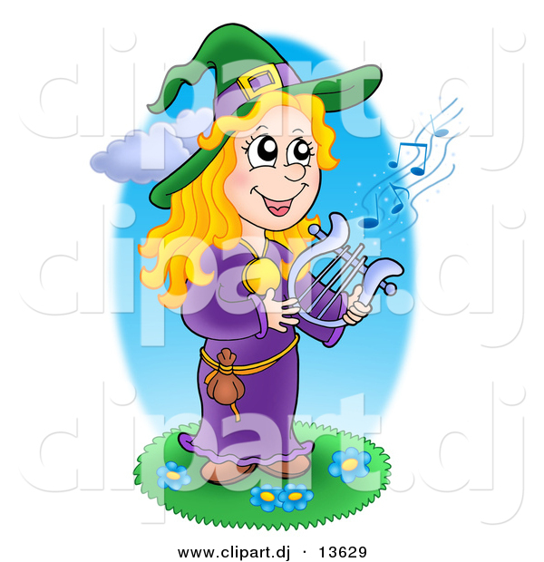 Vector Clipart of a Happy Cartoon Witch Playing a Lyre