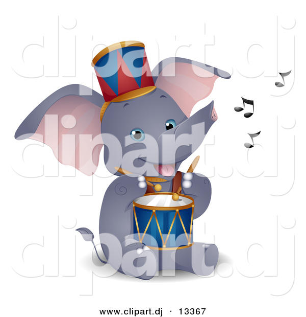 Vector Clipart of a Happy Circus Elephant Playing Drum - Cartoon Version