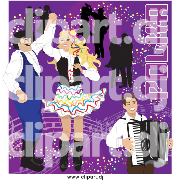 Vector Clipart of a Happy Couples Dancing to Polka Music and an Accordian Man on Purple