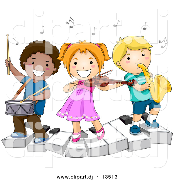 Vector Clipart of a Happy Kids Playing Instruments on a Keyboard - Cartoon School Version