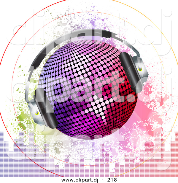 Vector Clipart of a Headphones on Disco Ball with Sound Signals over Grunge Equalizer Bars