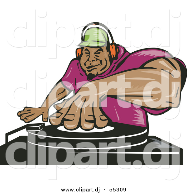 Vector Clipart of a Hispanic Cartoon Male Dj Mixing Records While Listening Through Headphones