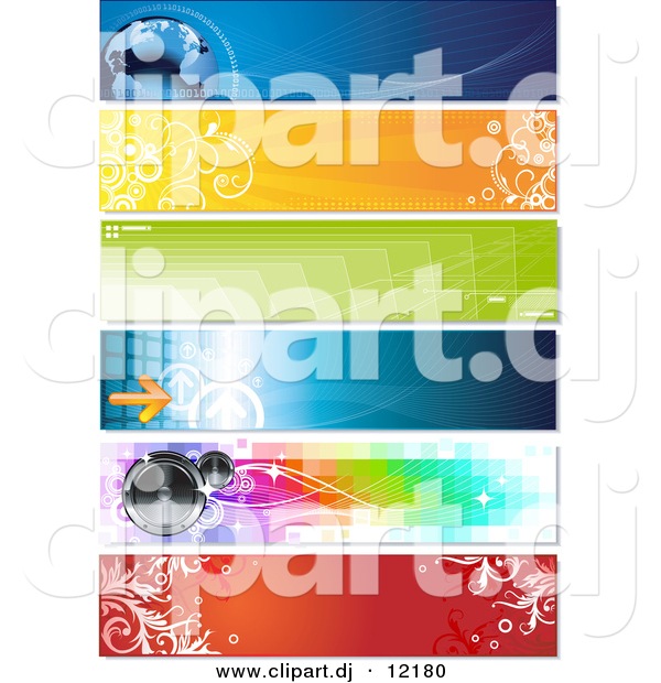 Vector Clipart of a Horizontal Arrow and Speaker Website Header - Digital Collage