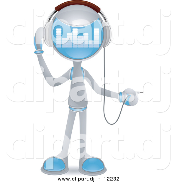 Vector Clipart of a Human-Like Robot Plugging in Headphones - Cartoon Styled Design