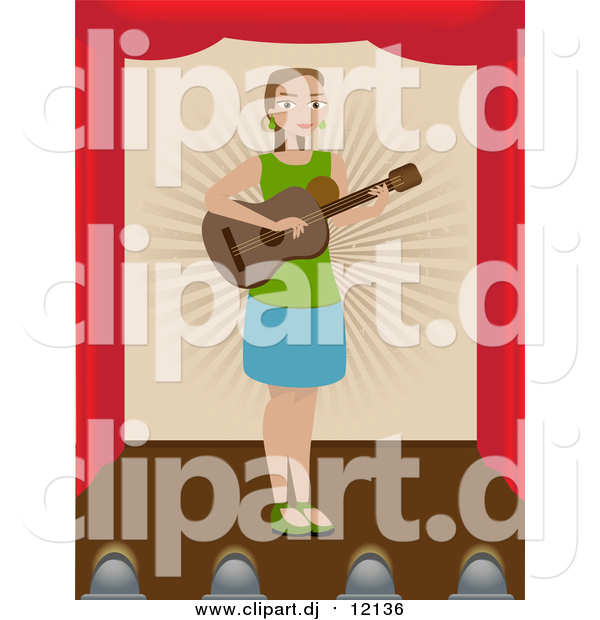 Vector Clipart of a Lady Playing a Guitar on a Stage