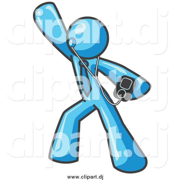 Vector Clipart of a Light Blue Man Dancing to Music