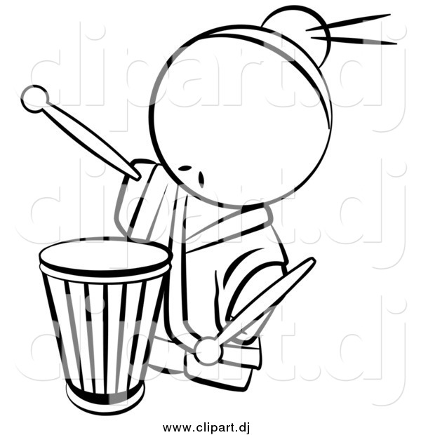 Vector Clipart of a Lineart Chinese Male Drummer