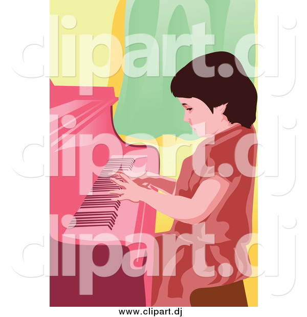 Vector Clipart of a Little Girl Pianist Entertaining