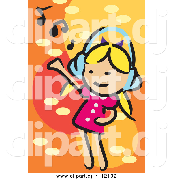 Vector Clipart of a Little White Blond Girl Dancing and Listening to Music