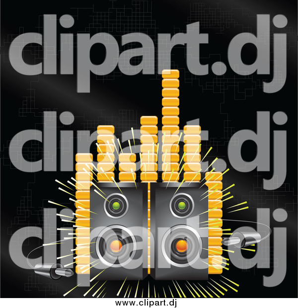 Vector Clipart of a Loud Stereo Speakers Blaring Music on a Black Background with Orange Equalizer or Volume Lines