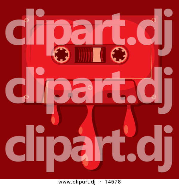 Vector Clipart of a Love Song Cassette Tape Bleeding over Red Background