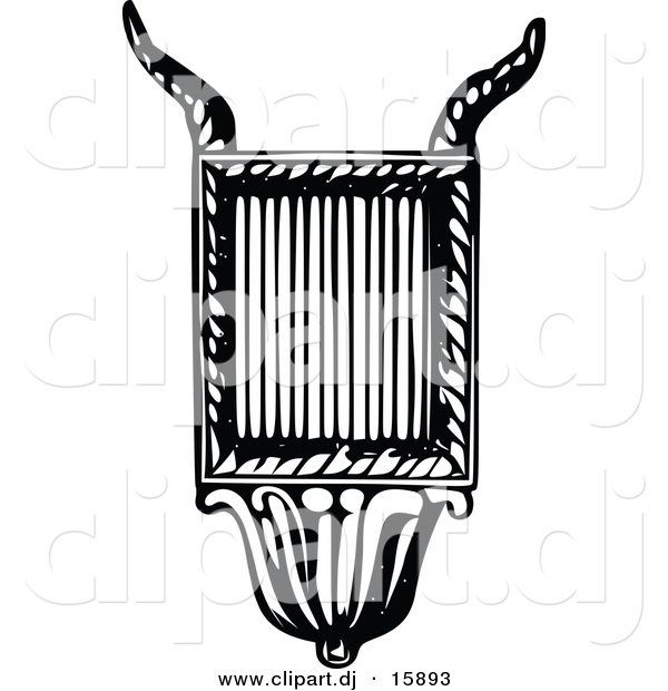 Vector Clipart of a Lyre Instrument - Black and White Vintage Design #4