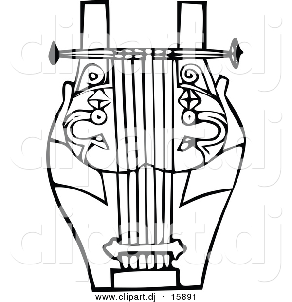 Vector Clipart of a Lyre Instrument - Black and White Vintage Design #8
