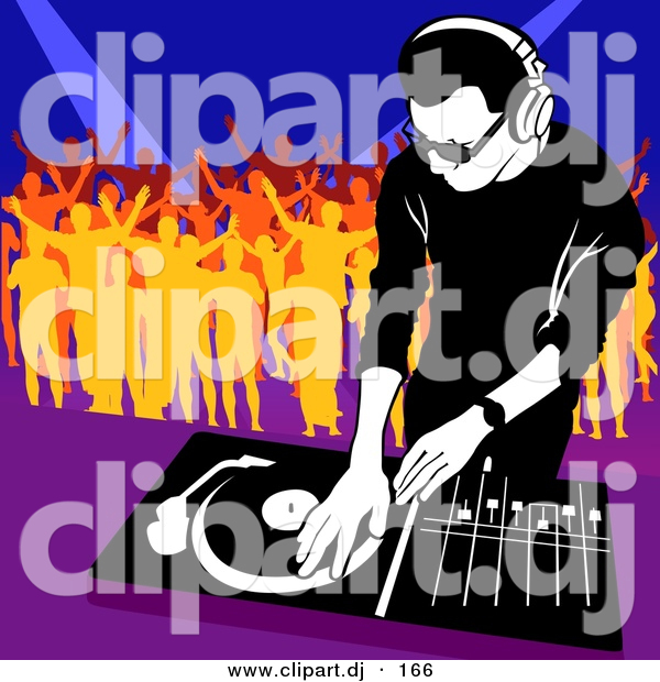 Vector Clipart of a Male DJ Mixing Music While People Dance in the Background