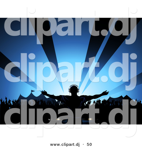 Vector Clipart of a Male Dj Playing Music at a Summer Festival