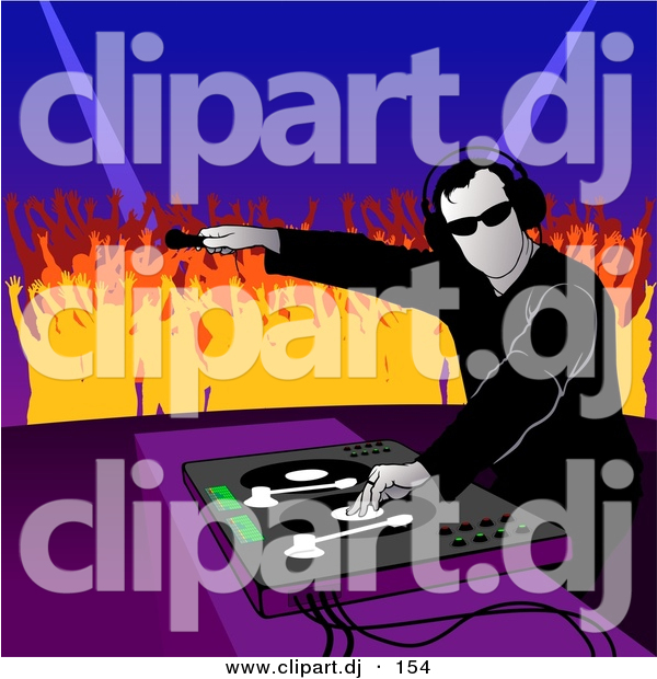 Vector Clipart of a Male DJ Playing Music to Dancing Crowd of Young People