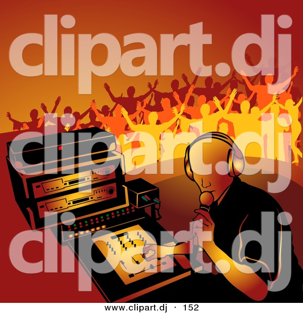 Vector Clipart of a Male DJ Playing Music While Young People Dance in Orange Background