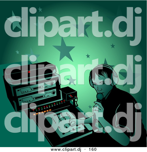 Vector Clipart of a Male DJ Talking Through Microphone at a Party