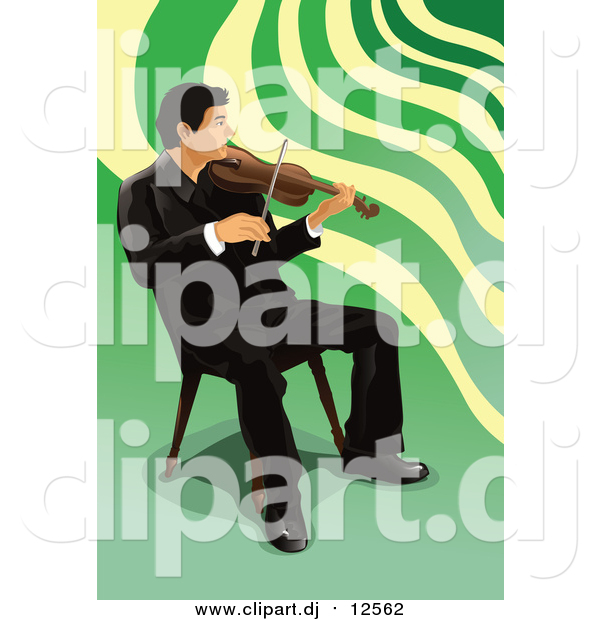 Vector Clipart of a Male Violinist Sitting and Playing
