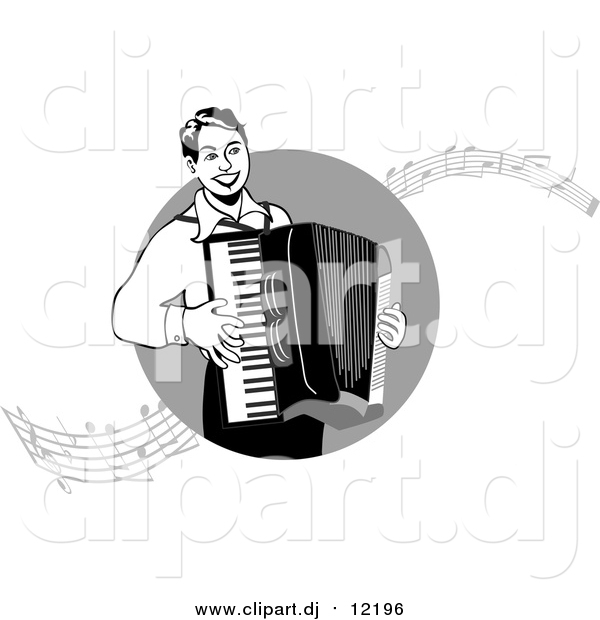 Vector Clipart of a Man Playing an Accordian with Music Notes