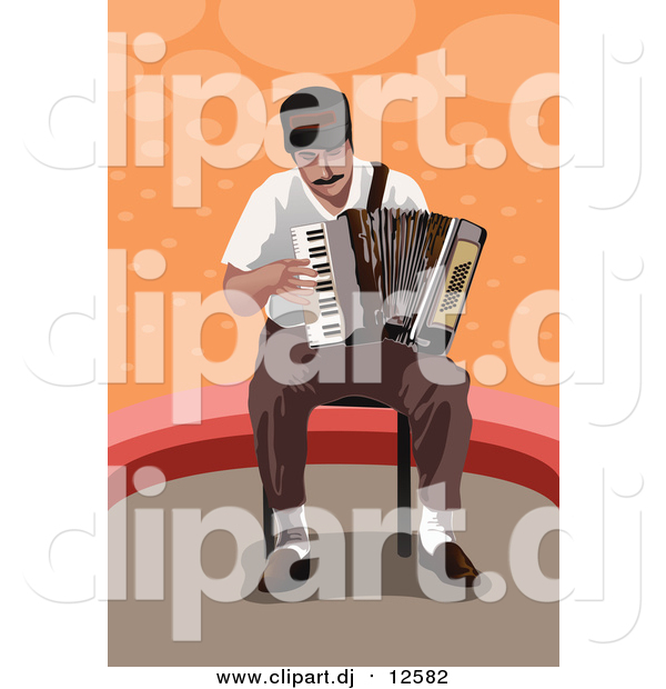 Vector Clipart of a Man Playing an Accordion