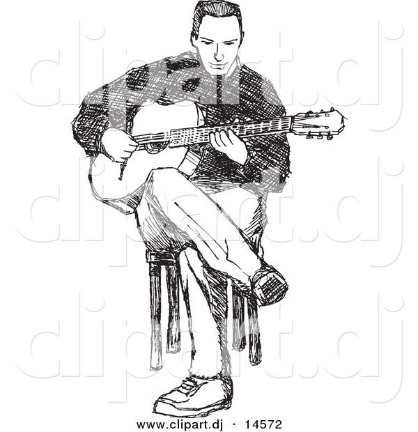 Vector Clipart of a Man Playing Guitar While Sitting in Chair - Black and White Pencil Sketch Art