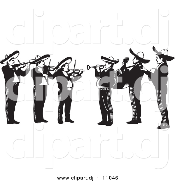 Vector Clipart of a Mariachi Band Playing Violins, Trumpets and Guitars in Mexico - Black and White Version