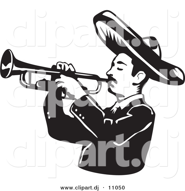 Vector Clipart of a Mariachi Man Wearing a Sombrero While Playing a Trumpet - Black and White Version