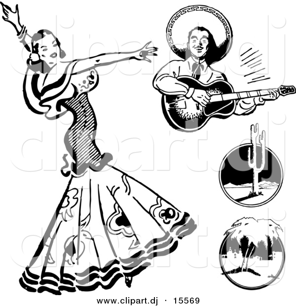 Vector Clipart of a Mexican Flaminco Dancer - Digital Collage - Retro Black and White Version