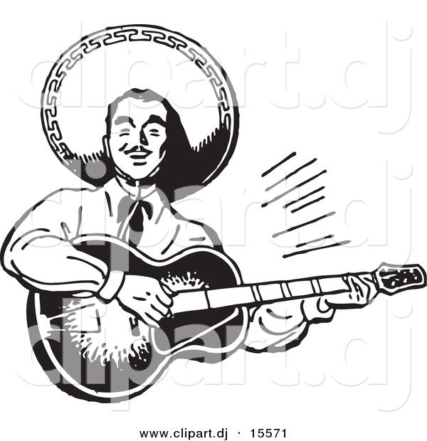 Vector Clipart of a Mexican Mariachi Guitarist Playing Music - Retro Black and White Version