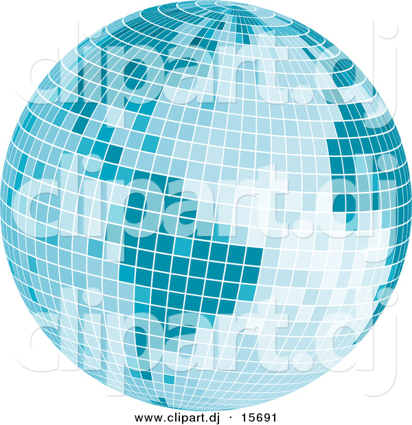 Vector Clipart of a Mosaic Blue Disco Ball Earth