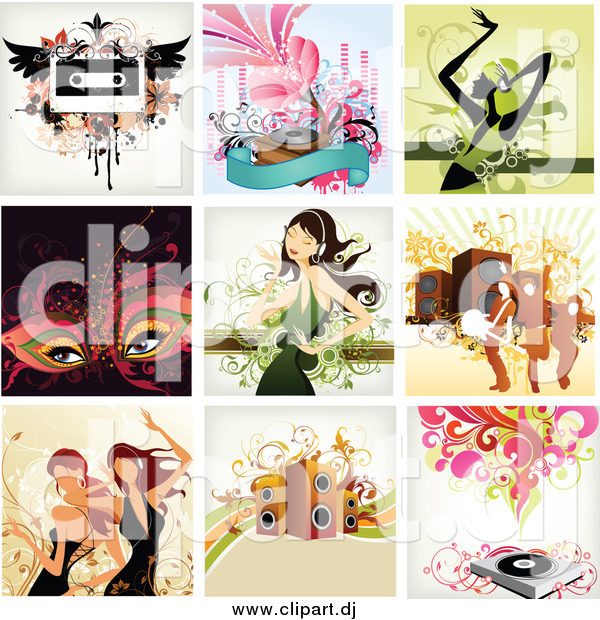 Vector Clipart of a Music Background Designs