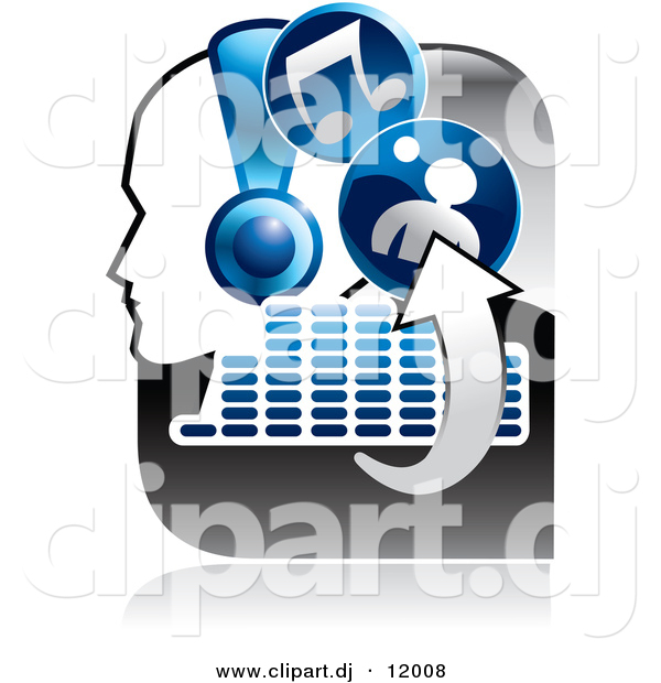 Vector Clipart of a Music Icon Featuring a Person Wearing Headphones, Arrows, Equalizer, and Music Notes