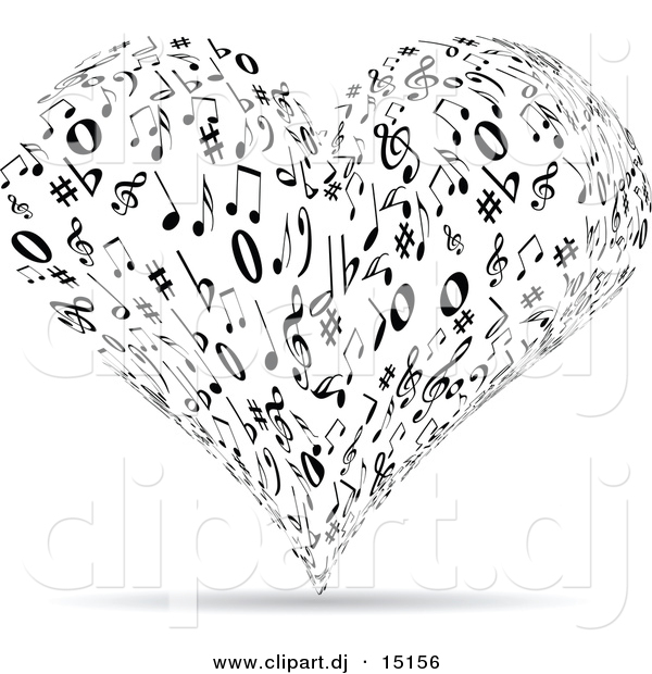 Vector Clipart of a Music Note Love Heart - Black and White