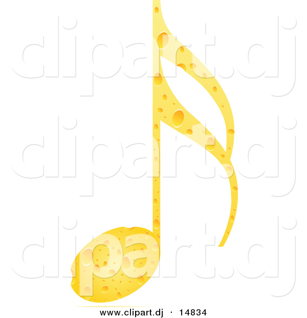 Vector Clipart of a Music Note Made out of Cheese