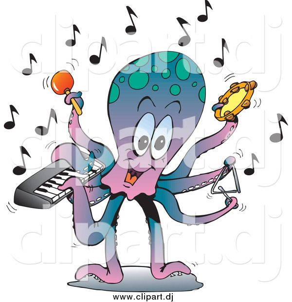 Vector Clipart of a Musician Octopus Playing a Keyboard, Maraca, Tambourine, and Triangle