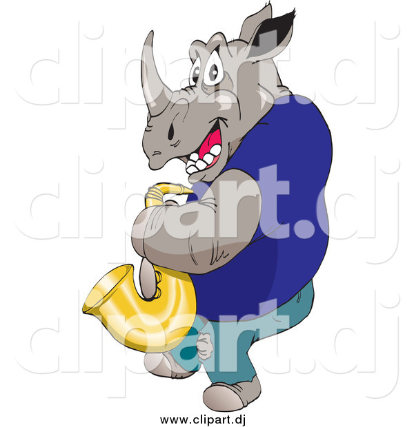 Vector Clipart of a Musician Rhino Playing a Saxophone
