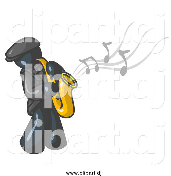 Vector Clipart of a Navy Blue Man Playing Jazz with a Saxophone
