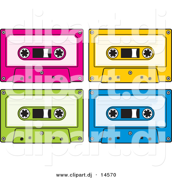 Vector Clipart of a Neon Colored Audio Cassette Tapes - Pink, Yellow, Green, and Blue - Digital Collage