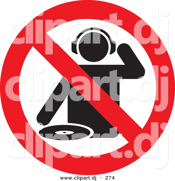 Vector Clipart of a No DJs Allowed Sign