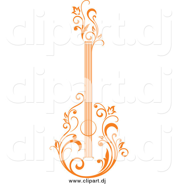 Vector Clipart of a Orange Floral Guitar Upright