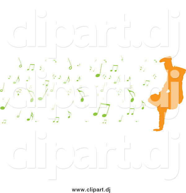 Vector Clipart of a Orange Silhouetted Breakdancer with Green Music Notes