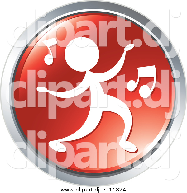 Vector Clipart of a Person Dancing to Music - Red Website Button Icon