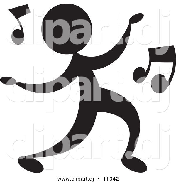 Vector Clipart of a Person Dancing with Music Notes - Silhouette