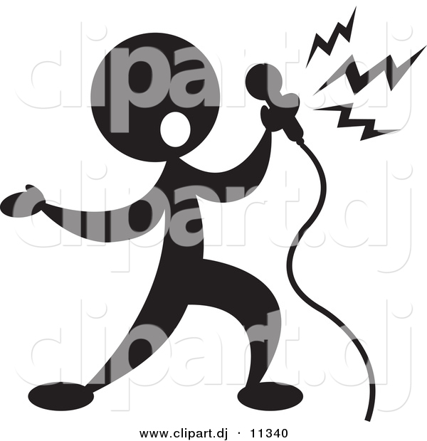 Vector Clipart of a Person Singin into Microphone - Silhouette
