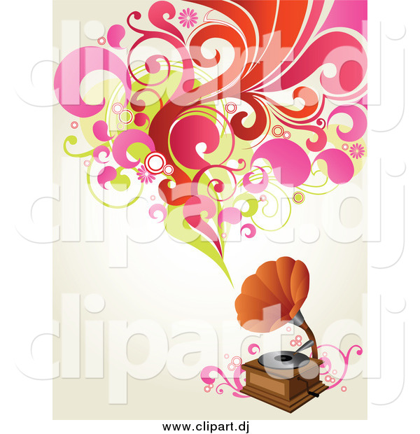 Vector Clipart of a Phonograph Playing Music, Shown As Red, Pink and Green Circles, Flowers and Leaves over an off White Background