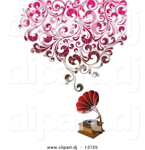 Vector Clipart of a Phonograph with Floral Distressed Waves