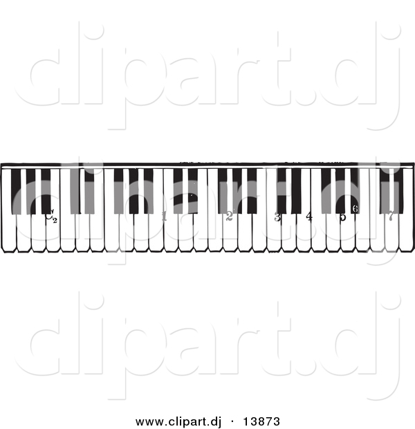 Vector Clipart of a Piano Keyboard Keys - Black and White Vintage Version