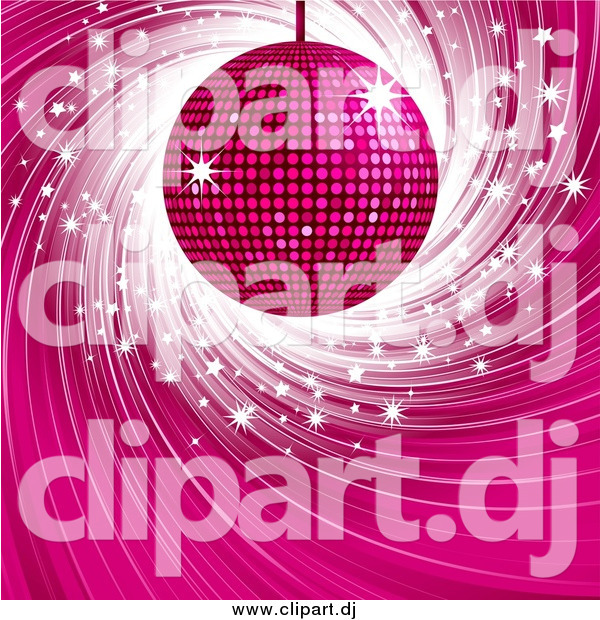 Vector Clipart of a Pink Disco Ball over a Swirling Blue Background with White Sparkles