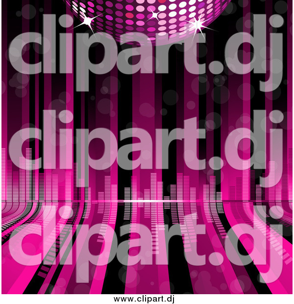 Vector Clipart of a Pink Disco Ball over Curving Lines with Equalizer Bars